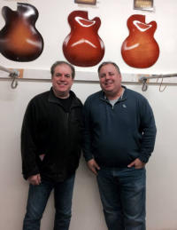 James Anthony and Howard Paul at Benedetto Guitars